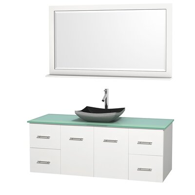 Centra 60 Single White Bathroom Vanity Set with Mirror Top Finish: Green Glass, Sink Finish: White Porcelain