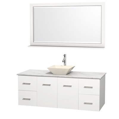 Centra 60 Single White Bathroom Vanity Set with Mirror Sink Finish: Bone Porcelain, Top Finish: White Carrera Marble