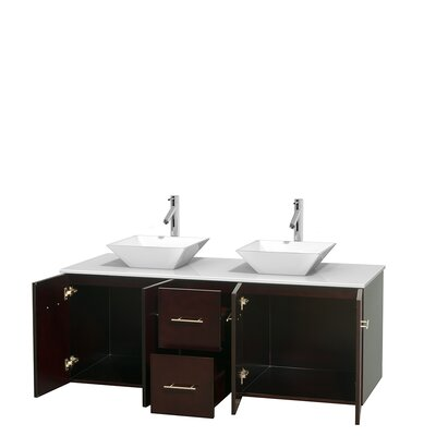 Centra 60 Double Bathroom Vanity Set Base Finish: Espresso, Basin Finish: Pyra White