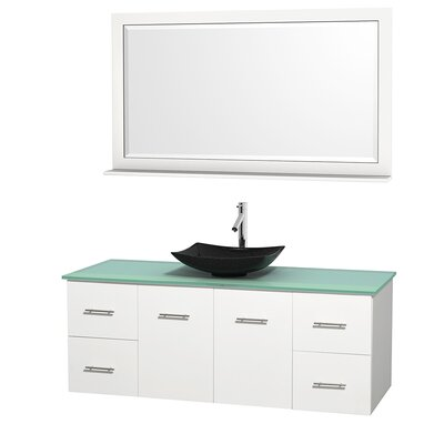 Centra 60 Single White Bathroom Vanity Set with Mirror Top Finish: Green Glass, Sink Finish: Arista Black Granite