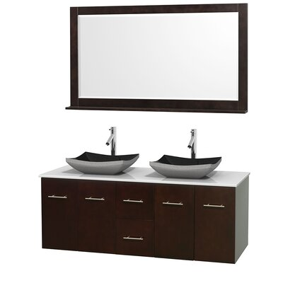 Centra 60 Double Espresso Bathroom Vanity Set with Mirror Top Finish: White Man-Made Stone, Sink Finish: Altair Black Granite