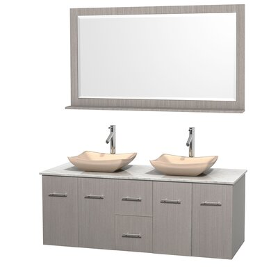 Centra 60 Double Gray Oak Bathroom Vanity Set with Mirror Top Finish: White Carrera Marble, Sink Finish: Avalon Ivory Marble