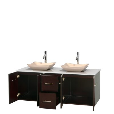 Centra 60 Double Bathroom Vanity Set Base Finish: Espresso, Basin Finish: Avalon Ivory