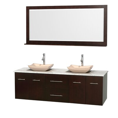 Centra 72 Double Espresso Bathroom Vanity Set with Mirror Top Finish: White Carrera Marble, Sink Finish: Avalon Ivory Marble