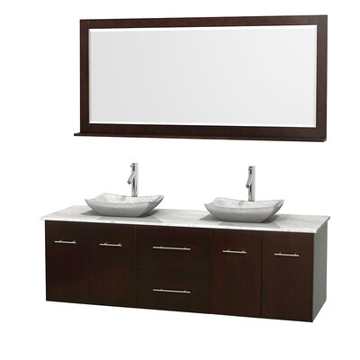 Centra 72 Double Espresso Bathroom Vanity Set with Mirror Top Finish: White Carrera Marble, Sink Finish: Avalon White Carrera Marble