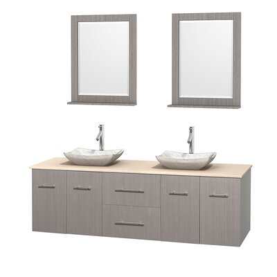 Centra 72 Double Gray Oak Bathroom Vanity Set with Mirror Top Finish: Ivory Marble, Sink Finish: Avalon White Carrera Marble
