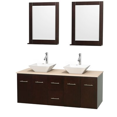 Centra 60 Double Espresso Bathroom Vanity Set with Mirror Sink Finish: White Porcelain, Top Finish: Ivory Marble