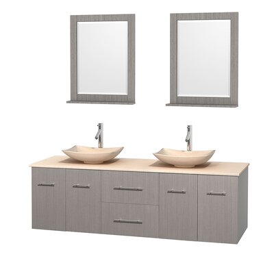 Centra 72 Double Gray Oak Bathroom Vanity Set with Mirror Top Finish: Ivory Marble, Sink Finish: Arista Ivory Marble