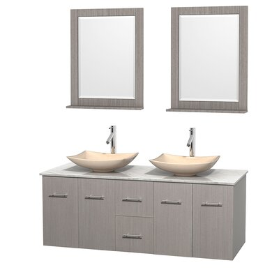 Centra 60 Double Gray Oak Bathroom Vanity Set with Mirror Top Finish: White Carrera Marble, Sink Finish: Arista Ivory Marble