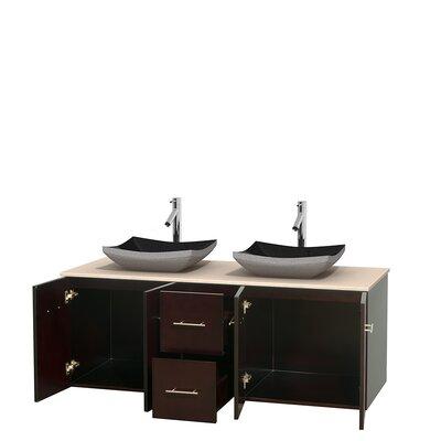 Centra 60 Double Bathroom Vanity Set Base Finish: Espresso, Top Finish: Ivory