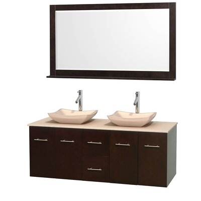 Centra 60 Double Espresso Bathroom Vanity Set with Mirror Top Finish: Ivory Marble, Sink Finish: Avalon Ivory Marble