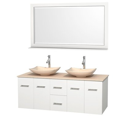 Centra 60 Double White Bathroom Vanity Set with Mirror Top Finish: Ivory Marble, Sink Finish: Arista Ivory Marble
