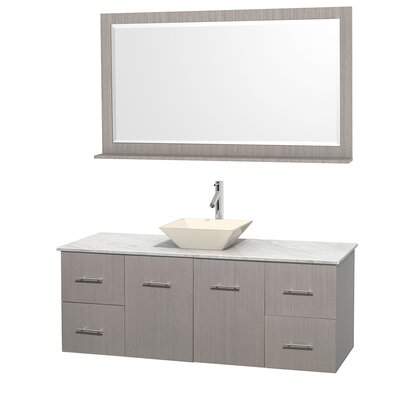 Centra 60 Single Gray Oak Bathroom Vanity Set with Mirror Top Finish: White Carrera Marble, Sink Finish: Bone Porcelain