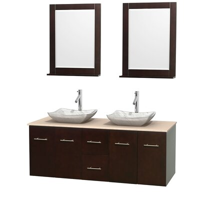Centra 60 Double Espresso Bathroom Vanity Set with Mirror Top Finish: Ivory Marble, Sink Finish: Avalon White Carrera Marble