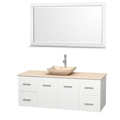 Centra 60 Single White Bathroom Vanity Set with Mirror Top Finish: Ivory Marble, Sink Finish: Avalon Ivory Marble