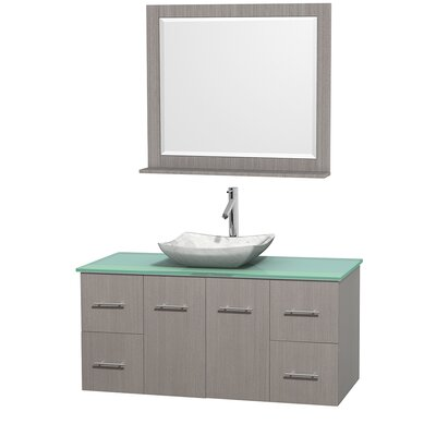 Centra 48 Single Gray Oak Bathroom Vanity Set with Mirror Top Finish: Green Glass, Sink Finish: Avalon White Carrera Marble