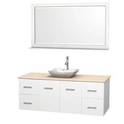 Centra 60 Single White Bathroom Vanity Set with Mirror Top Finish: Ivory Marble, Sink Finish: Avalon White Carrera Marble