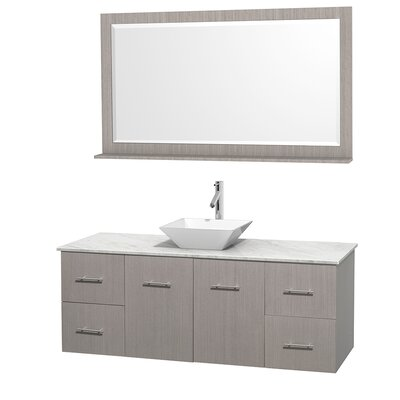 Centra 60 Single Gray Oak Bathroom Vanity Set with Mirror Top Finish: White Carrera Marble, Sink Finish: White Porcelain