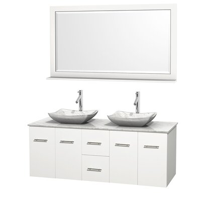 Centra 60 Double White Bathroom Vanity Set with Mirror Top Finish: White Carrera Marble, Sink Finish: Avalon White Carrera Marble