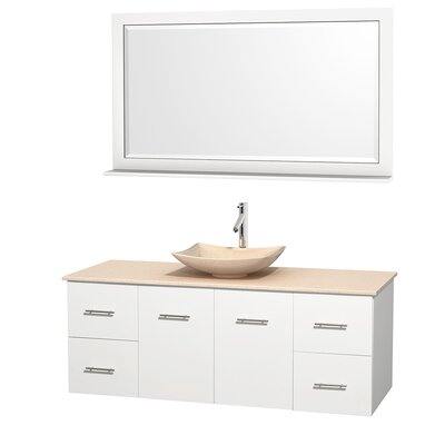 Centra 60 Single White Bathroom Vanity Set with Mirror Top Finish: Ivory Marble, Sink Finish: Arista Ivory Marble