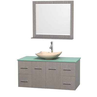 Centra 48 Single Gray Oak Bathroom Vanity Set with Mirror Top Finish: White Man-Made Stone, Sink Finish: Altair Black Granite