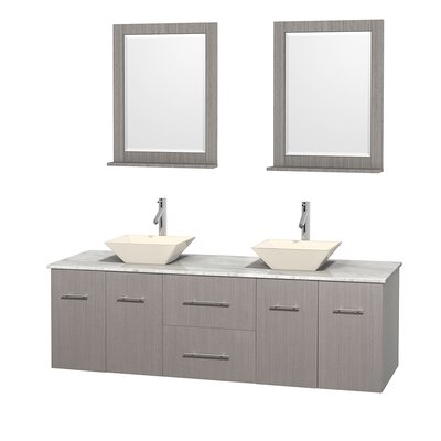 Centra 72 Double Gray Oak Bathroom Vanity Set with Mirror Top Finish: White Carrera Marble, Sink Finish: Bone Porcelain