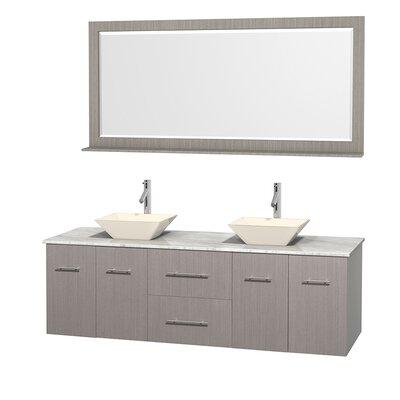 Centra 72 Double Gray Oak Bathroom Vanity Set with Mirror Top Finish: White Carrera Marble, Sink Finish: Bone Porcelain