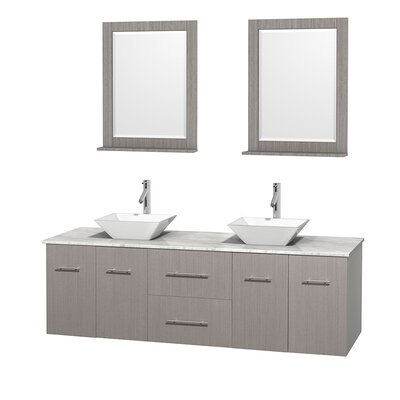 Centra 72 Double Gray Oak Bathroom Vanity Set with Mirror Sink Finish: White Porcelain, Top Finish: White Carrera Marble