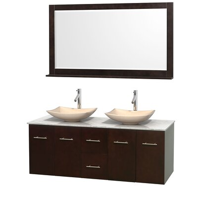 Centra 60 Double Espresso Bathroom Vanity Set with Mirror Top Finish: White Carrera Marble, Sink Finish: Arista Ivory Marble