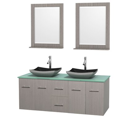 Centra 60 Double Gray Oak Bathroom Vanity Set with Mirror Top Finish: Green Glass, Sink Finish: Altair Black Granite