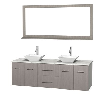 Centra 72 Double Gray Oak Bathroom Vanity Set with Mirror Top Finish: White Carrera Marble, Sink Finish: White Porcelain