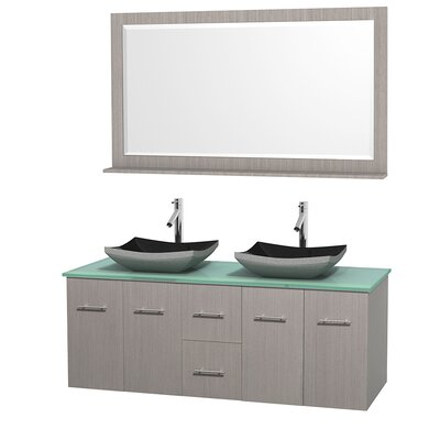 Centra 60 Double Gray Oak Bathroom Vanity Set with Mirror Top Finish: Green Glass, Sink Finish: Bone Porcelain
