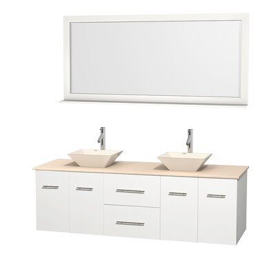 Centra 72 Double White Bathroom Vanity Set with Mirror Top Finish: Ivory Marble, Sink Finish: Bone Porcelain