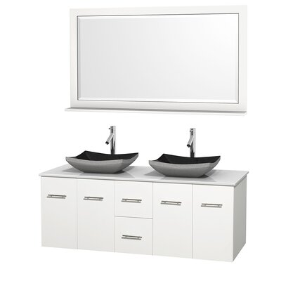 Centra 60 Double White Bathroom Vanity Set with Mirror Top Finish: White Man-Made Stone, Sink Finish: Altair Black Granite