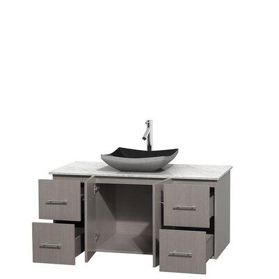 Centra 48 Single Bathroom Vanity Set Base Finish: Gray Oak, Top Finish: White Carrera
