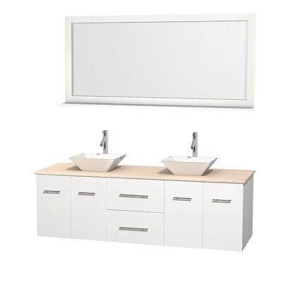 Centra 72 Double White Bathroom Vanity Set with Mirror Top Finish: Ivory Marble, Sink Finish: White Porcelain