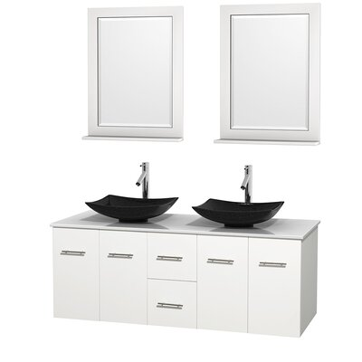 Centra 60 Double White Bathroom Vanity Set with Mirror Top Finish: White Man-Made Stone, Sink Finish: Arista Black Granite