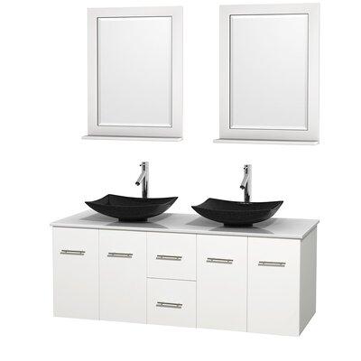 Centra 60 Double White Bathroom Vanity Set with Mirror Sink Finish: Arista Black Granite, Top Finish: White Man-Made Stone