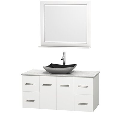 Centra 48 Single White Bathroom Vanity Set with Mirror Top Finish: White Carrera Marble, Sink Finish: Arista Black Granite