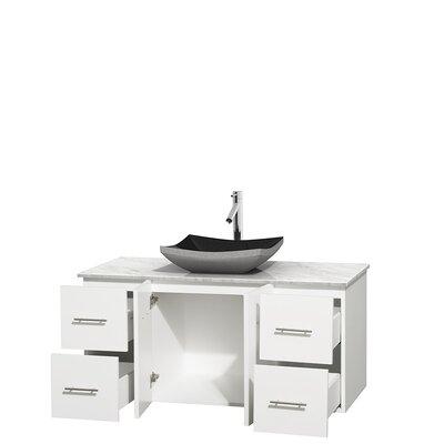 Centra 48 Single Bathroom Vanity Set Base Finish: Matte White, Top Finish: White Carrera