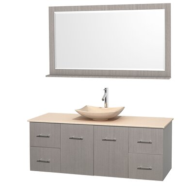 Centra 60 Single Gray Oak Bathroom Vanity Set with Mirror Top Finish: Ivory Marble, Sink Finish: Arista Ivory Marble