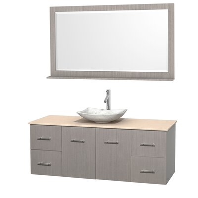 Centra 60 Single Gray Oak Bathroom Vanity Set with Mirror Top Finish: Ivory Marble, Sink Finish: Arista White Carrera Marble