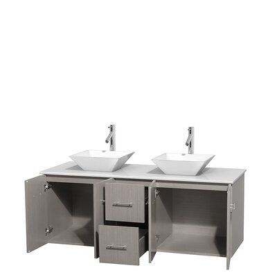 Centra 60 Double Bathroom Vanity Set Base Finish: Gray Oak, Basin Finish: Pyra White