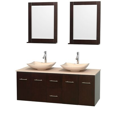 Centra 60 Double Espresso Bathroom Vanity Set with Mirror Sink Finish: Arista White Carrera Marble, Top Finish: Green Glass