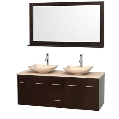 Centra 60 Double Espresso Bathroom Vanity Set with Mirror Top Finish: Ivory Marble, Sink Finish: Arista Ivory Marble