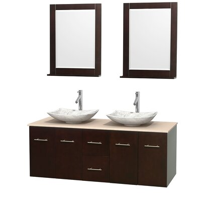 Centra 60 Double Espresso Bathroom Vanity Set with Mirror Top Finish: Ivory Marble, Sink Finish: Arista White Carrera Marble