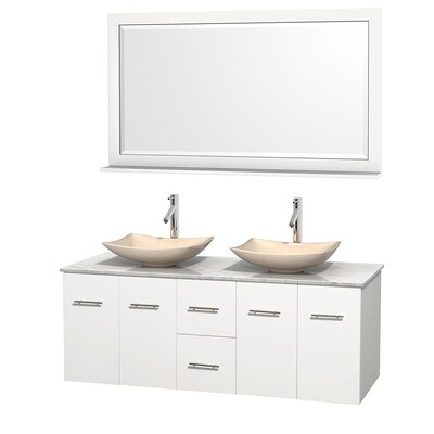 Centra 60 Double White Bathroom Vanity Set with Mirror Top Finish: White Carrera Marble, Sink Finish: Arista Ivory Marble