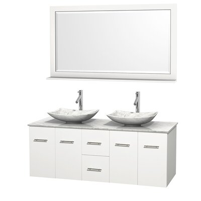 Centra 60 Double White Bathroom Vanity Set with Mirror Top Finish: White Carrera Marble, Sink Finish: Arista White Carrera Marble