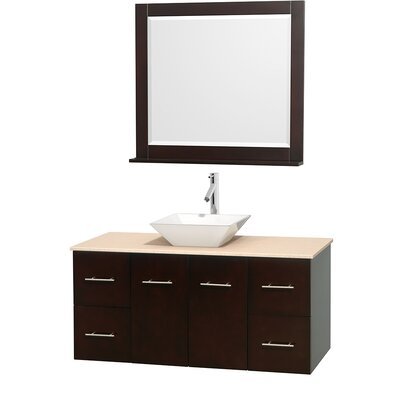 Centra 48 Single Espresso Bathroom Vanity Set with Mirror Top Finish: Ivory Marble, Sink Finish: White Porcelain