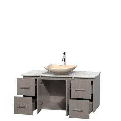 Centra 48 Single Bathroom Vanity Set Base Finish: Gray Oak, Top Finish: White Carrera, Basin Finish: Ivory Marble